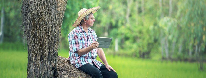 Farmer sitting
